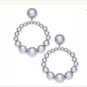 Kate Spade New York Silver Beaded Drop Hoop Earing